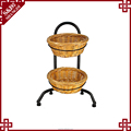 S&D floor standing multifunction display shelf display stand iron pipe display with wicker basket