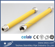 AISI304 hot sale stainless steel flexible gas pipe with yellow cover