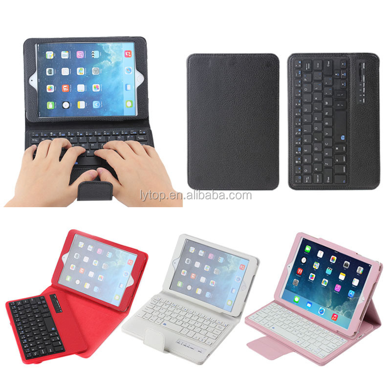 Litchi detachable bluetooth keyboard leather case for iPad Mini 1 2 3