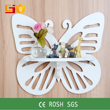 wood carved butterfly shaped living room floating wall shelf New design wall-mount shelf for home decoration