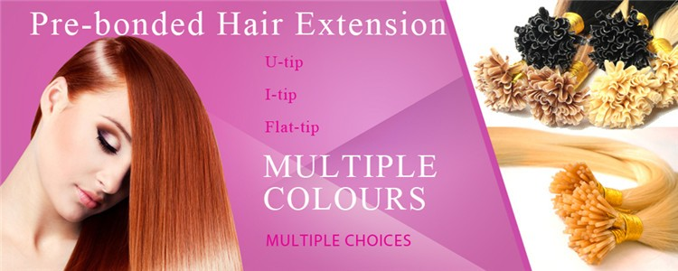 Top quality remy hair extensions 100% Brazil hair pro-bonded Three hair U tip hair extension.