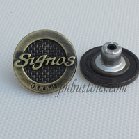 factory custom brand name bronze alphabet buttons for jeans clothing
