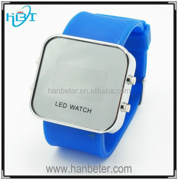 Hot Sales Sport Style Mirror Face Silicone Led Digital Watches For Women Men Unisex