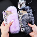 For iPhone 7 8 6 6S Plus X Bling Diamond Rabbit Fur Case Fox Head Rhinestone Phone Case Cover For iPhone 6 6s plus 7 7 plus Capa
