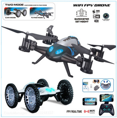 2 in 1 car/helicopter toys 2.4G 4 Ch 6 AXIS WiFi FPV drone with HD camera