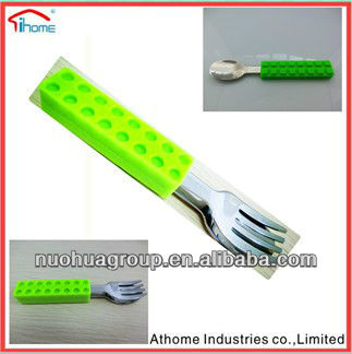 eco-friendly, food grade LFGB, FDA,ABS silicone handle wooden spoon and fork