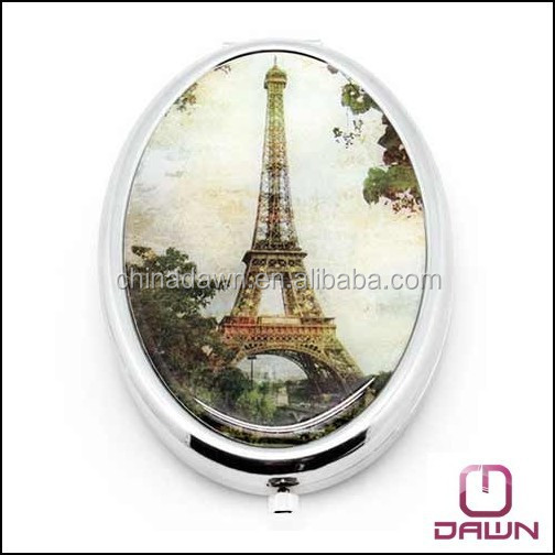 big oval shaped antique pocket mirror with epoxy doming factory CD-MG093