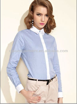 High quality long sleeve contrasting color slim shirts for women/ladies with spread collar