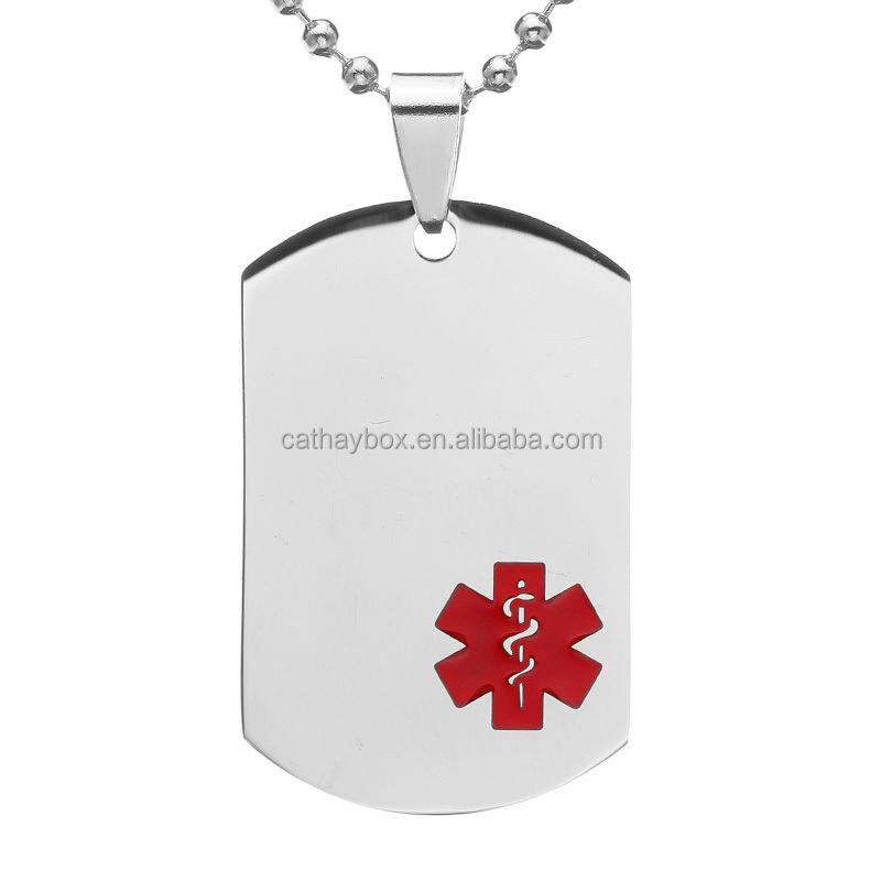 Silver Tone Stainless Steel Red Medical Alert ID Blank Dog Tag Personalized Custom Engraved Charm <strong>Pendant</strong>