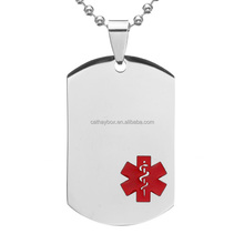 Silver Tone Stainless Steel Red Medical Alert ID Blank Dog Tag Personalized Custom Engraved Charm Pendant