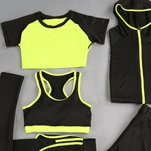 5 pcs hooded design suits sportswear workout leggings sport set for women