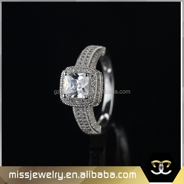 Best selling sterling silver 3 gram gold ring, rich diamonds heavy design white gold ring