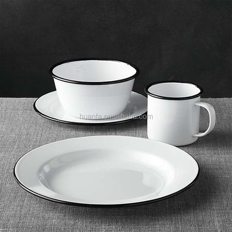 Promotional eco-friendly porcelain enamel tableware,Customized kitchenware enamel dinner sets/restaurant serving sets