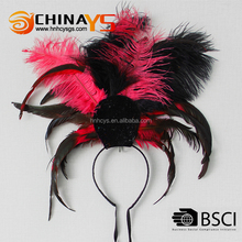 China Gold manufacture High quality party female black feather headband for performance