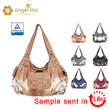 Angel Kiss Low MOQ Dubai Washed Leather Purses Fashion Women Bag Lady Wholesale Cheap Handbags