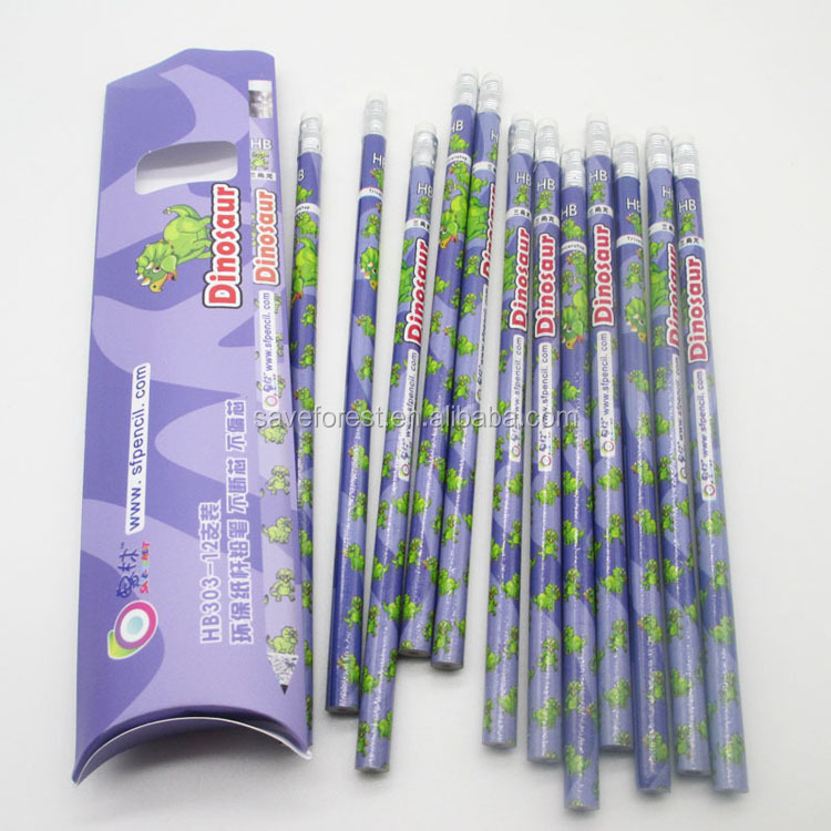 factory supply of promotional paper pencil with HB black lead
