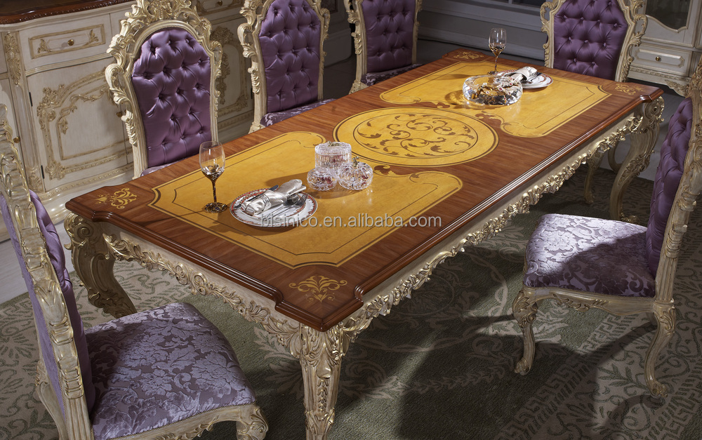 Luxury dining table antique european italian style dining Luxury wood furniture