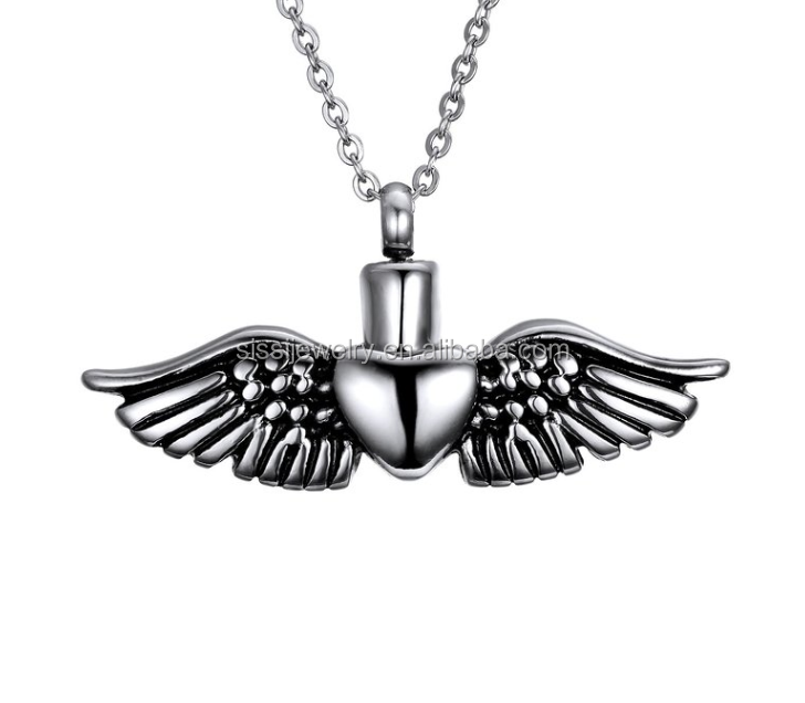 Keepsake Jewelry Angel Wing Cremation Pendant for Ash Holder