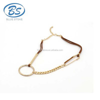 ASXN001 fashion design leather gold chain choker necklace