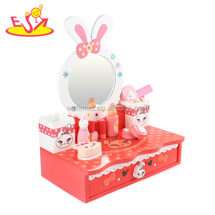 Wholesale beautiful dressing table design cartoon wooden dresser toy for baby W10D164