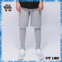 custom made plain mens sports layered pants drawstring elastic waistband raw edges tight leggings jogging terry pants for men