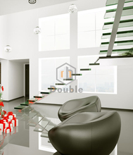 house stainless steel stringer L shape stairs LED glass staircase