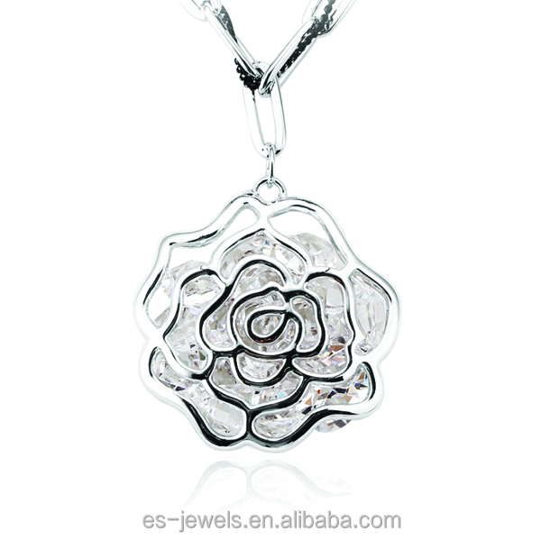 11004 Fashion Vogue Jewelry Alloy Gold Hollow Crystal Rose Flower Shaped Pendant Necklaces