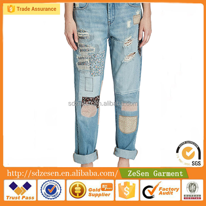 customized camouflage joint jeans, hot sales destroy boyfriend jeans