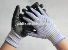 cheap strip Nylon knitted work gloves coated with black nitrile palm