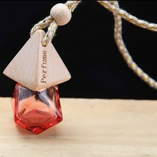 Car Home Hanging Empty Refillable clearly glass wooden cap car perfume bottle