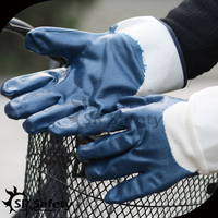 SRSAFETY jersey liner half dipping blue nitrile oil industry work glove