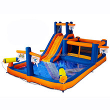Low price 0.55mm PVC tarpaulin inflatable water slide with pool for amusement