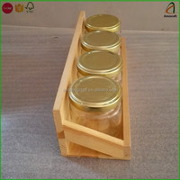 Wholesale Pine Wooden Glass Spice Bottle Holder Rack