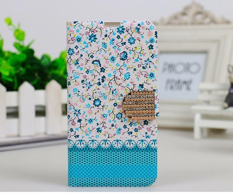 New Arrival Beautiful Flowers Diamond Crystal Flip Stand PU Leather Case For iPhone 6 plus 5.5