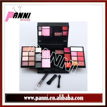 23 color full set lipgloss eyeshadow blush face powder+eyebrow pen+2pc brush+mirror