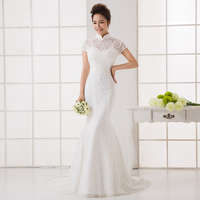 RR3044 elegant latest designed stand collar short-sleeve backless Zip closed lace mermaid evening dresses