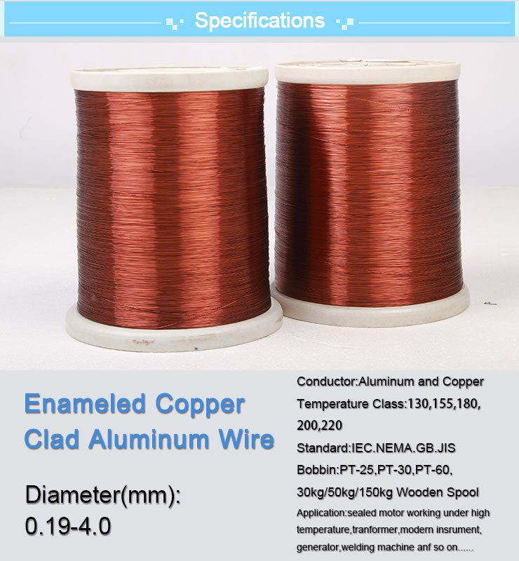 Class 130 155 180 200 220 0.14-4.0mm Enameled CCA Copper Coated Aluminum Wire ECCA Wire