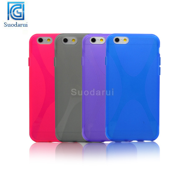 2014 New Mobile Phone Case Accessories X Line TPU Gel Case Back Cover for Apple iPhone 6
