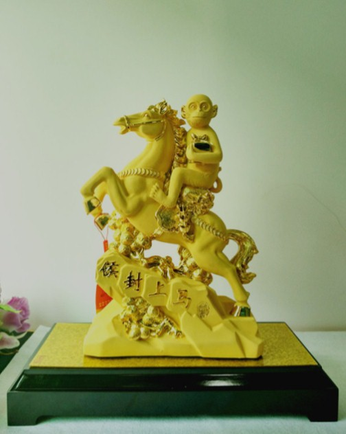 High Quality 24K Gold Plated Chinese Zodiac Monkey figurine for business gifts