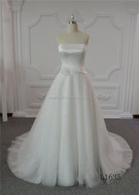 Fashion strapless wedding dresses A-line wedding dress long tail
