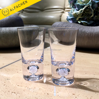 Heavy Base With Crystal Beads Shot Glass Tea Cup Set Glassware With Paper Box Packaging