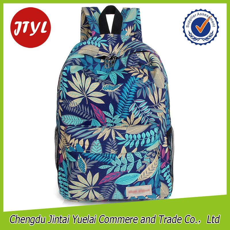 Blue Leaves Print <strong>Backpack</strong> Girls Rucksack Bags Hot Sales Fashion Mochilas <strong>Backpacks</strong> for Girl