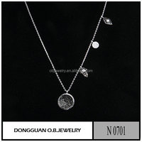 New design two tone plated Necklace Chain with Diamond Charm