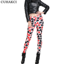 Sexy 3D Digital Printed Milk Silk Leggings Fashion Ladies Red Hearts Slim Leggins Women Casual Tight Leggings