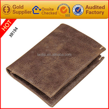 New style man brown genuine PU leather wallet hot sale