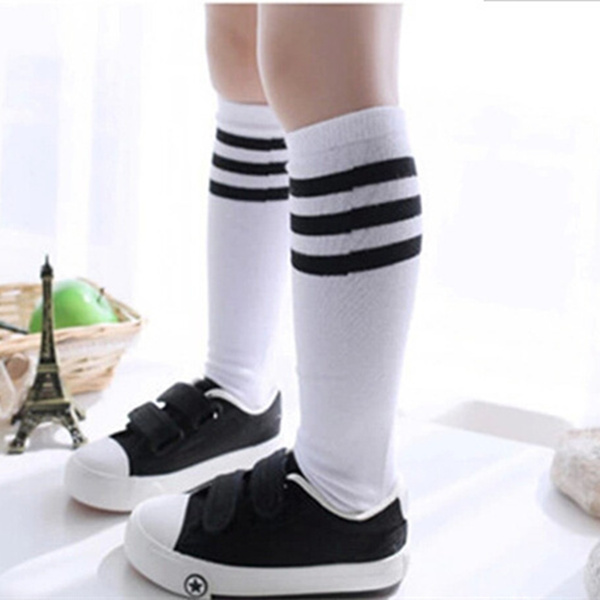 5 Pairs/ Lot New Autumn Winter Fashion Cotton Girls Boys Children's Socks Stripe Kids Baby Girls Knee Socks 3-8 Years Old Sports