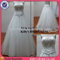 Real sample fit and flare tulle lace wedding dress