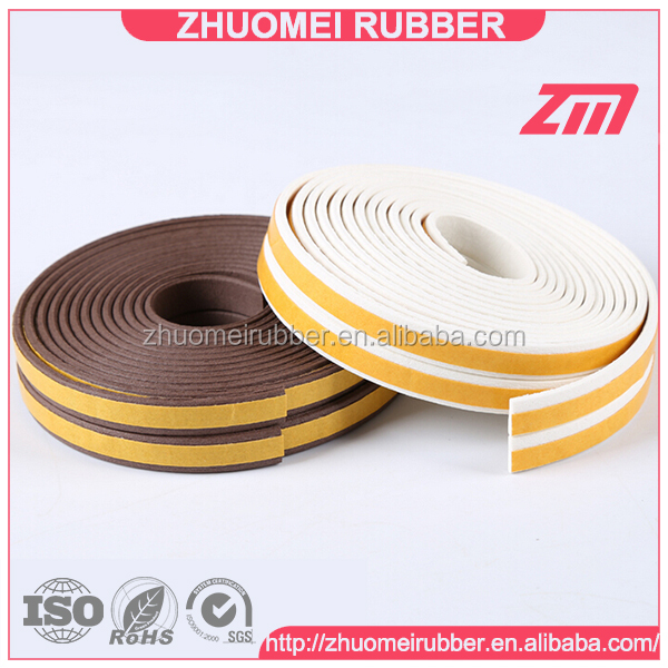 I shaped self-adhesive rubber edge seal strip