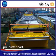 Pre cutter part Roof Sheets color corrugated Roll forming Machine color coated steel coil roof machine