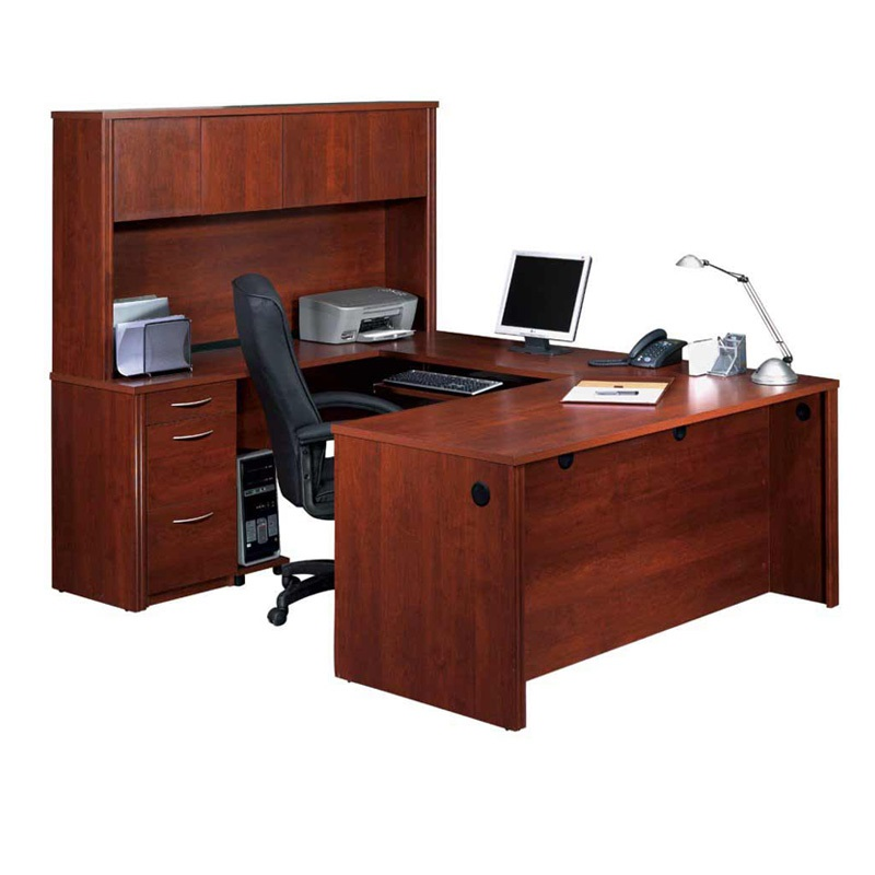High Tech Office Furniture U Shaped Executive Office Table With Hutch  Cabinet